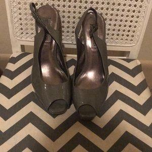 Steve Madden patent gray peep toe heels